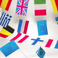 Zoom : Plastic or paper flag bunting and hand-waving flags (more than 60 countries are available)